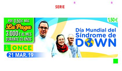 Cupón de la ONCE dedicado al Día Mundial del Síndrome de Down