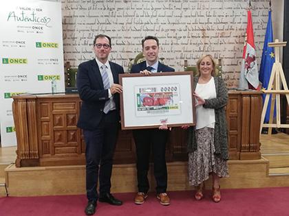 Fotografía de la presentación del cupón de la ONCE dedicado a la Feria del Pimiento de Benavente