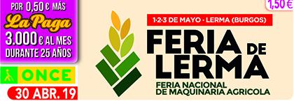 Cupón de la ONCE dedicado a la Feria Nacional de Maquinaria Agrícola de Lerma