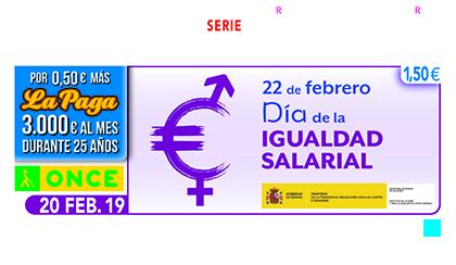 Cupón de la ONCE dedicado a la Igualdad Salarial