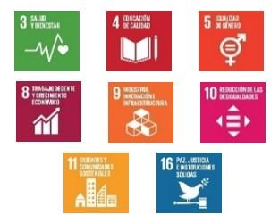 imagen de los ODS 3, 4, 5,8,9,10 Y 16