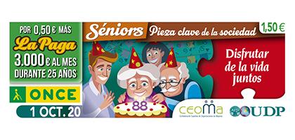 Cupón de la ONCE del 1 de octubre, dedicado a las personas mayores