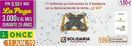 Cupón de la ONCE dedicado a la X Solidaria 110619