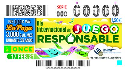 Cupón de la ONCE dedicado al Día Internacional del Juego Responsable