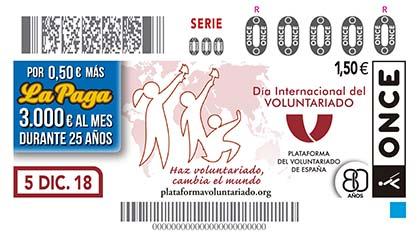 CUPÓN DE LA ONCE DEDICADO AL DÍA INTERNACIONAL DEL VOLUNTARIADO 051218