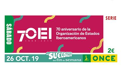 Cupón de la ONCE dedicado al 70 aniversario de la OEI 261019