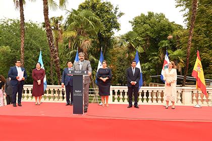 José Luis Pinto, vicepresidente de la ONCE, durante la presentación del cupón dedicado al Bicentenario de Centroamérica