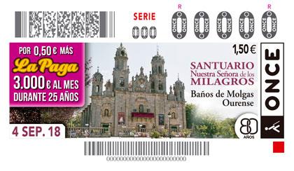 Cupón del 4 de septiembre dedicado al Santuario de Baño de Molgas (Ourense)