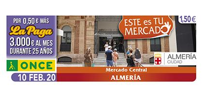 Cupón de la ONCE dedicado al Mercado Central de Almería 100220