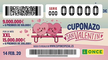 Cuponazo de la ONCE dedicado a San Valentín 2020 140220