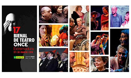 Collage con imágenes de los diferentes grupos que participan en la 17 Bienal de Teatro