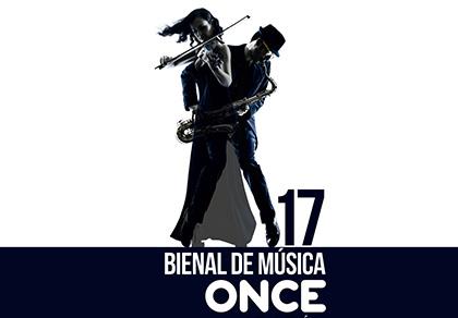 Motivo principal del cartel de la BIenal con la silueta de dos músicos