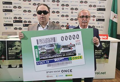 Presentación del cupón que la ONCE dedica al centenario del Racing Ferrol