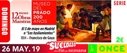 Cupón de la ONCE dedicado a Los Fusilamientos, de Francisco de Goya 260519