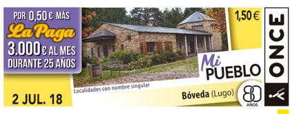 Cupón del 2 de julio de 2018 dedicado a la localidad de Bóveda