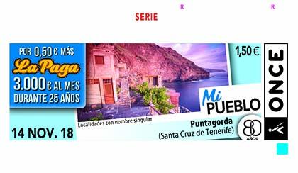 Cupón de la ONCE del 14 del 11 2018, dedicado a Punta Gorda (Santa Cruz de Tenerife)
