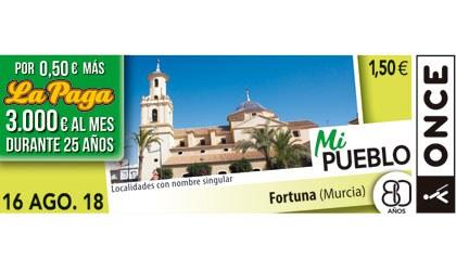 Cupón del 16 de agosto dedicado a Fortuna (Murcia)