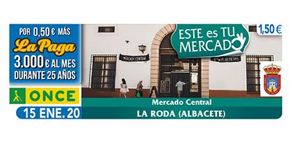Cupón de la ONCE dedicado al Mercado Central Virgen de los Remedios, de La Roda 150120