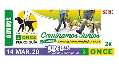 Cupón de la ONCE dedicado a la Fundación ONCE del Perro Guía 140320