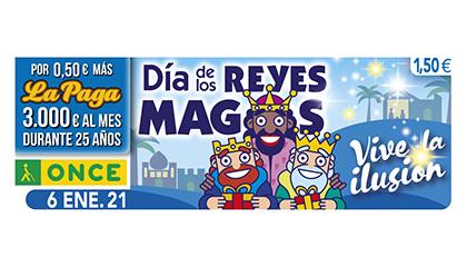 Cupón de la ONCE dedicado a la festividad de los Reyes Magos
