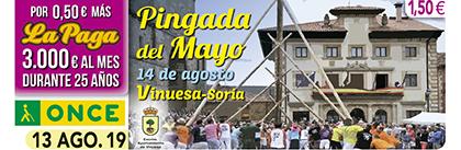 Cupón de la ONCE dedicado a la Pingada del Mayo, de Vinuesa (Soria)