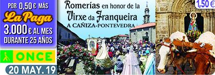 Cupón de la ONCE dedicado a la Romería de la Virgen de A Franqueira