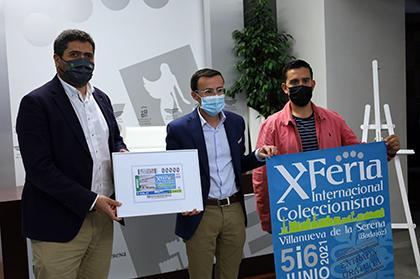 Presentación del cupón dedicado a la X Feria Internacional de Coleccionismo de Villanueva de la Serena