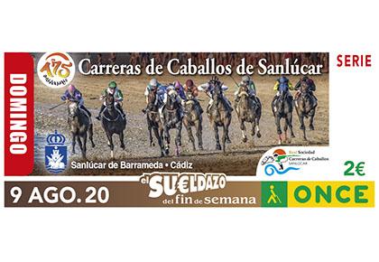 Cupón del 9 de agosto dedicado a las carreras de caballos de Sanlúcar