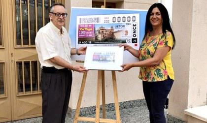 El director de ONCE Albacete y la alcaldesa de Liétor presentan el cupón del 21 de agosto