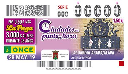 CUPÓN DE LA ONCE DEDICADO AL RELOJ DE LAGUARDIA