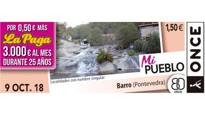 Cupón del 9 de octubre dedicado a la localidad de Barro (Pontevedra)