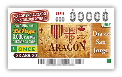 Cupón de la ONCE dedica al Día de Aragón, no comercializado por Covid19