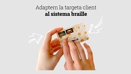 Tarjeta de los supermercados Bon Preu en braille