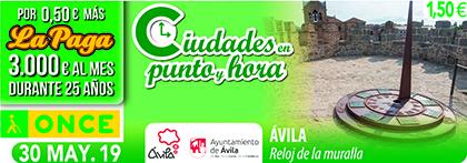 Cupón de la ONCE dedicado al reloj de la Muralla de Ávila