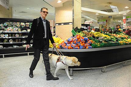 Persona ciega junto a perro guía en el supermercado