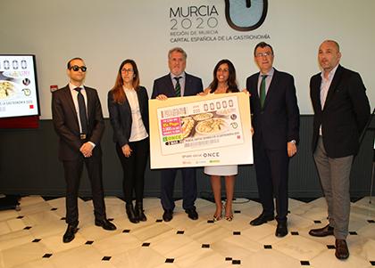 Presentación del cupón dedicado a Murcia Capital Española de la Gastronomía