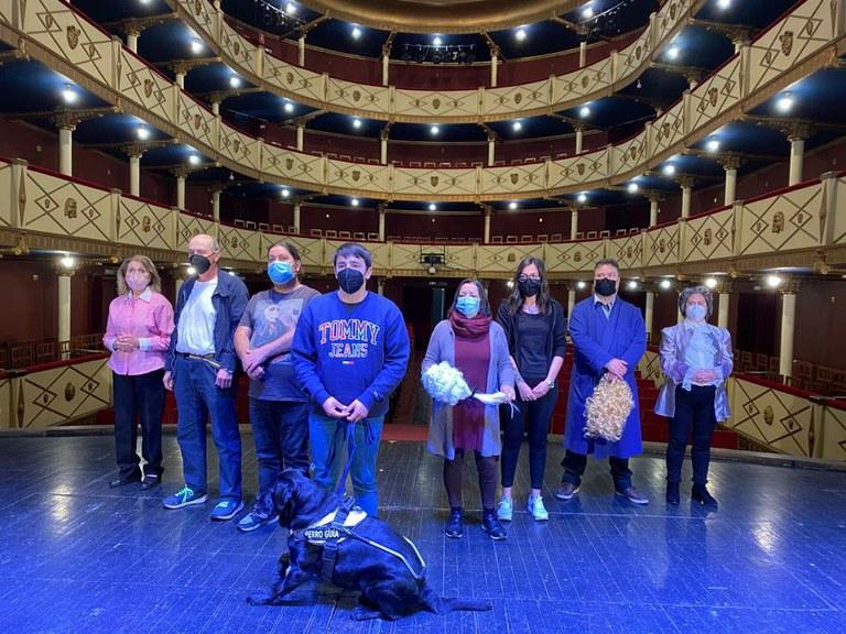 Muxicas durante el rodaje en el Teatro Benavente
