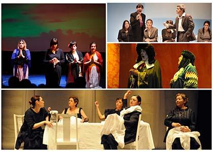 Collage con varios grupos de teatro de la ONCE