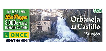 Cupón de la ONCE dedicado a Orbaneja del Castillo, Burgos