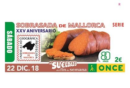 Cupón de la ONCE dedicado a los 25 años del Consejo Regulador de la Sobrasada de Mallorca 221218