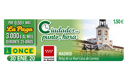 Cupón de la ONCE dedicado al Reloj de la Real Casa de Correos de Madrid