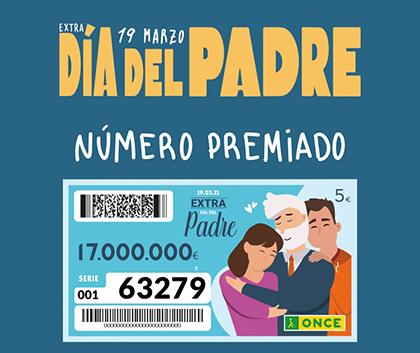 Cartel número premiado Extra Día del Padre de la ONCE