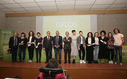 Foto de familia de la entrega de los 21 Premios Tiflos de Periodismo de la ONCE