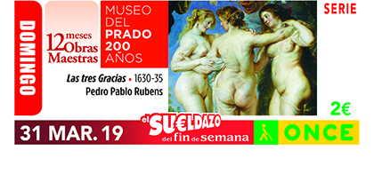 Cupón de la ONCE dedicado a Las Tres Gracias, de Rubens, en la serie del Bicentenario del Museo del Prado