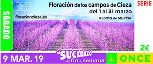 Cupón dedicado a la floración de los campos de Cieza (Región de Murcia)