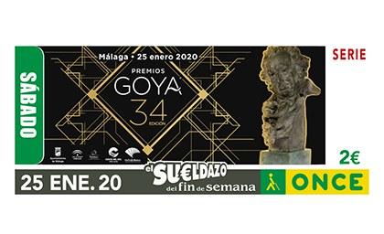 Cupón de la ONCE dedicado a la 34 Edición de los Premios Goya 250120