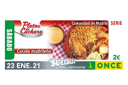 Cupón de la ONCE dedicado al Cocido Madrileño