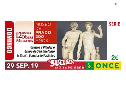 Cupón dedicado a la escultura de Orestes y Pílades, correspondiente al 200 aniversario del Museo del Prado
