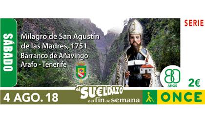 Cupón del 4 de agosto dedicado al milagro de San Agustín de las Madres y el barranco de Añavingo Arafo de Tenerife