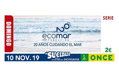 Cupón de la ONCE dedicado al 20 niversario de la Fundación Ecomar